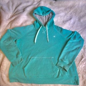 Champion Hoodie Sweatshirt Turquoise Size XL